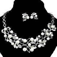 Europejski styl moda metalowa perła Rhinestone Kolczyki liści osobowość i temperament& zestaw naszyjnik