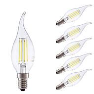 3.5W E14 LED Filament Bulbs B35L 4 COB 400/350 lm Cool White/ Warm White Dimmable AC 220-240 V 6 pcs