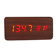 RayLineDo® Latest Design Fashion Brown Wood Red LED Light Wooden Digital Alarm Clock -Time Temperature Date Display - Voice and Touch Activated
