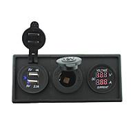 12v / 24v de macht charger3.1a usb-poort en de huidige ampèremeter meter met huisvesting houder paneel voor auto boot truck rv (met de
