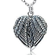 Dame Halskædevedhæng Smykker Enlig Snor Hjerteformet Smykker Vinger / Fjer Sølv Enkelt design Kærlighed Vintage Mode Smykker TilFest
