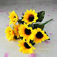 6 hoofden landelijke stijl zijden doek simulatie zonnebloemen