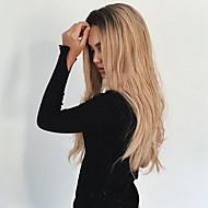 Kobieta Peruki syntetyczne Bez czepka Długo Falowane Czarny / Strawberry Blonde Włosy ombre Ciemne u nasady Przedziałek na środku Peruka