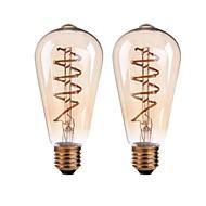 2PCS 4W B22/E27  LED Soft Filament Bulbs ST64 COB 400 lm Warm White Dimmable AC 220-240 AC 110-130 V