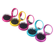 1Pc Airbag Massage Folding Comb With Mirror Hair Brushes For Girls Travel Accessory Portable Folding Mini Round Massage Comb Color Random