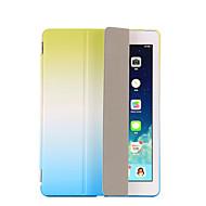 Mert Állvánnyal Automatikus készenlét/ébresztés Flip Origami Case Teljes védelem Case Színátmenet Kemény Műbőr mert AppleiPad (2017) iPad