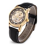 Heren Polshorloge mechanische horloges Japanse quartz Hol Gegraveerd Automatisch opwindmechanisme PU Band Luxueus Zwart