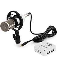 BM-800 Professional Studio Sound Condenser Microphone with Shock Mount Sound Card for Radio Broadcasting Recording