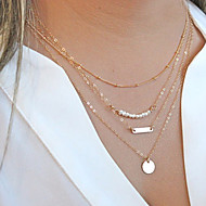 Women's Chain Necklaces Pearl Necklace Layered Necklaces Circle Pearl Alloy Fashion Multi Layer Personalized Jewelry ForParty Daily