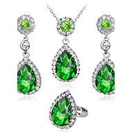Zestawy biżuterii Pierscionek Naszyjnik / Kolczyki Modny euroamerykańskiej Kryształ górski Szkło Stop Geometric Shape Kropla1 Naszyjnik 1