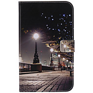 For Samsung Galaxy Tab 4 7.0 Tab 3 7.0 Card Holder Wallet with Stand Auto Sleep/Wake Flip Pattern Case Full Body Case City View Hard PU Leather