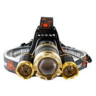 Lampes Frontales LED 4800 lumens Lumens 4.0 Mode Cree T6 18650Faisceau Ajustable Etanche Rechargeable Résistant aux impacts Tête crénelée