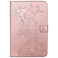 For Samsung Galaxy TAB T580 T280 Case Cover Card Holder Wallet with Stand Flip Embossed Full Body Case Sexy Lady Cat Butterfly Hard PU Leather