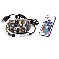 BRELONG USB 5050 RGB Strip Lights 5V TV Background Waterproof 2M 60 Leds with 17Key Controller