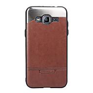 Til Samsung Galaxy J3 J3 (2016) cover dækker stokken læder med stok metal mobiltelefon tilfælde