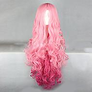 Naisten Synteettiset peruukit Suojuksettomat Hyvin pitkä Laineikas Pinkki Liukuvärjätyt hiukset Cosplay-peruukki puku Peruukit