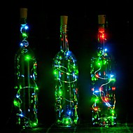 1PCS  2m 20 LED Cork Shaped LED Night Starry Light Copper Wire Stopper Wine Bottle Lamp Decoration Cool Warm White Colorful