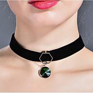 Női Rövid nyakláncok utánzat Diamond Circle Shape Ékszerek Üveg BársonyAlap Karika Egyedi Strassz Geometriai Barátság minimalista stílusú
