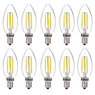 4W LED필라멘트 전구 C35 4 COB 350 lm 따뜻한 화이트 화이트 장식 AC 220-240 V 10개
