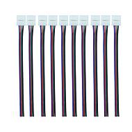 rgb 피그 테일 (10pcs)와 4 핀 10mm led 커넥터 10mm 와이드 5050 rgb 유연한 led 스트립에 대 한 피그 테일 어댑터에 유연한 가벼운 스트립 무 납땜 클램프