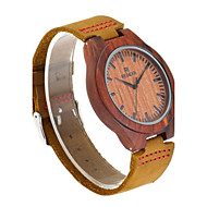 男性用 腕時計 ウッド 日本産 クォーツ 木製 本革 バンド エレガント腕時計 ブラウン
