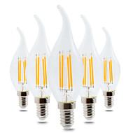 4W Żarówki LED kulki CA35 4 COB 300-400 lm Ciepła biel Przysłonięcia Dekoracyjna AC 220-240 V 5 sztuk