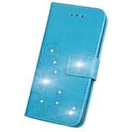 Til iPhone X iPhone 8 iPhone 8 Plus Etuier Pung Kortholder Rhinsten Med stativ Flip Præget Mønster Magnetisk Heldækkende Etui Blomst Hårdt