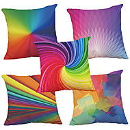 Set of 5  Colorful Pattern  Decorative Chenille Square Throw Pillow Cases Sofa Cushion Covers (18*18inch)