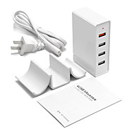USB oplader 4 Ports Desk Charger Station Med Quick Charge 3.0 Stand Dock Unversel Opladningsadapter