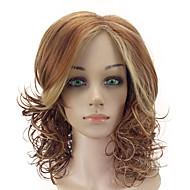 Naisten Synteettiset peruukit Suojuksettomat Keskikokoinen Kihara Beige Raidoitetut hiukset Keskijakaus Otsatukalla Luonnollinen peruukki