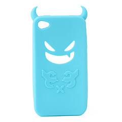 Devil Protective Silica Gel Case for iPhone4 - Light Blue