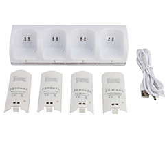 Quad USB Battery Charging Station with Rechargeable Batteries for Wii/Wii U Remote