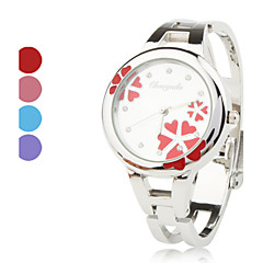 Women's Quartz Analog Flower Pattern Dial Silver Alloy Band Bracelet Watch (Assorted Colors) Cool Watches Unique Watches Fashion Watch