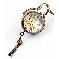 Mujer Reloj de Bolsillo Cuerda Manual Huecograbado Aleación Banda Bronce Marca-