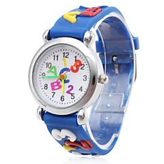 Kinderen Modieus horloge Kwarts Silicone Band Cartoon Teksthorloge Blauw