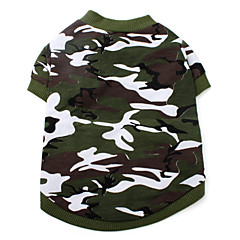 Dog Shirt / T-Shirt Green Dog Clothes Summer Spring/Fall Camouflage Fashion