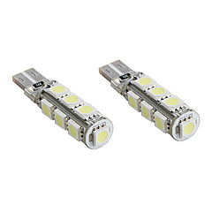 T10 13*5050 SMD White LED CANBUS Car Signal Lights (2-Pack, DC 12V)