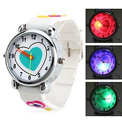 em forma de coração das crianças silicone relógio de pulso de quartzo analógico com luz piscante levou (branco)