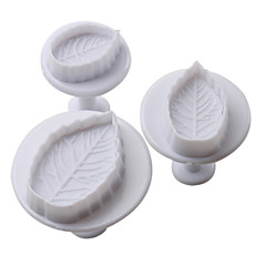 Leaf Pattern Cake and Cookies Cutter Mold with Plunger (3 Pieces)