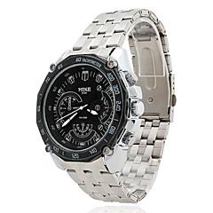 voděodolná pánská Black Dial slitina stříbra kapela quartz analogový chronograf hodinky