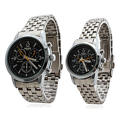 Couple Style Stainless Steel Alloy Analog Quartz Wrist Watch (Silver)