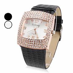 Women's Diamante Square Case PU Band Quartz Analog Wrist Watch (Assorted Colors) Cool Watches Unique Watches
