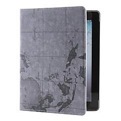 map mønster pu lærveske med stativ for ipad 2/3/4