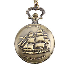 Unisex Sailing Boat Style U.S.S. Constitution Alloy Analog Quartz Pocket Watch (Bronze) Cool Watch Unique Watch