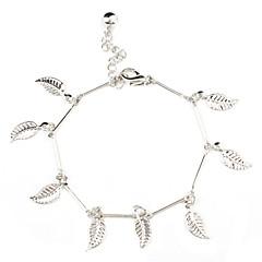 Leaf Shape with Single Tinkle Bell Sliver Plated Bracelet