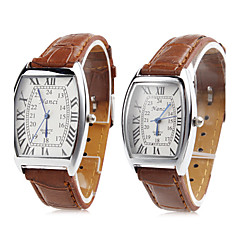 Pair of Unisex PU Analog Quartz Wrist Watch (Brown) Cool Watches Unique Watches Fashion Watch