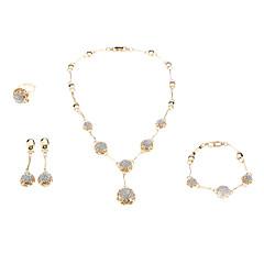 z&X® kvinnors guldpläterade boll diamant smycken set (halsband örhänge ring och armband)