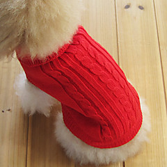Cat / Dog Sweater Red / Green / Blue / Brown / Pink / Coffee Dog Clothes Winter / Spring/Fall Solid Keep Warm