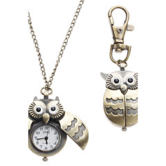 Women's Watch Owl Style Keychain Pocket Watch