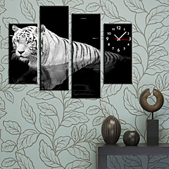 Modern Style Tiger Wall Clock in Canvas Set of 4